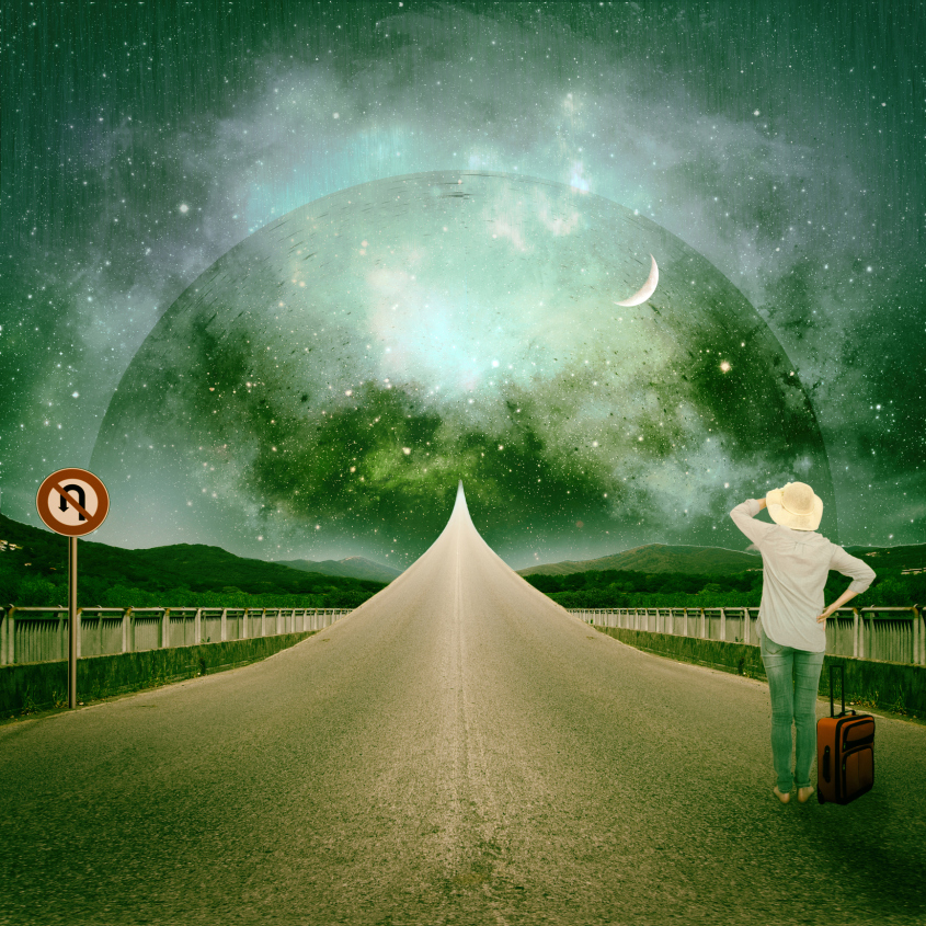 From A to B. Life's journey, concept. Travelling woman by rising road.
